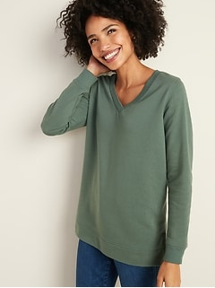 V-Neck Boyfriend Tunic Sweatshirt for Women