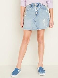 High-Waisted Button-Fly Frayed-Hem Jean Skirt for Girls