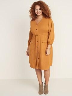 Waist-Defined Plus-Size Ponte Knit Utility Dress