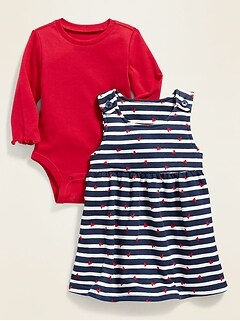 Sleeveless Printed Dress and Long-Sleeve Bodysuit Set for Baby