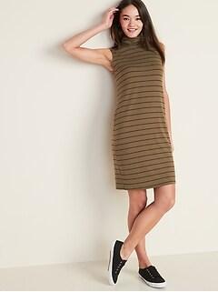 Sleeveless Turtleneck Shift Dress for Women