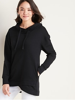 French Terry Pullover Tunic Hoodie for Women