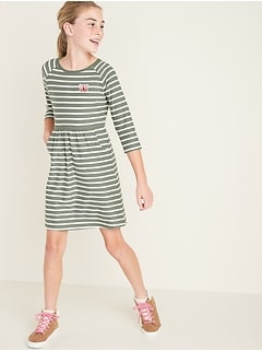 Graphic Brushed Jersey Pocket Dress for Girls