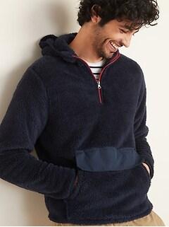 Plush Sherpa 1/4-Zip Hoodie for Men