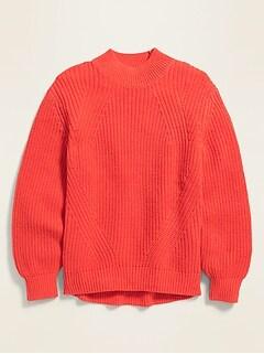 Chandail en tricot texturé à manches blouson pour fille