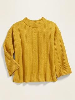 Chandail cocon en tricot à pointelle pour fille