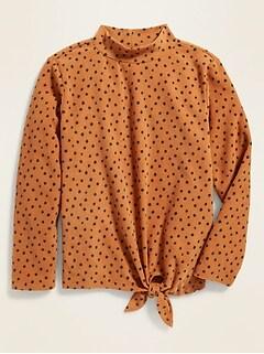 Micro Performance Fleece Tie-Hem Top for Girls