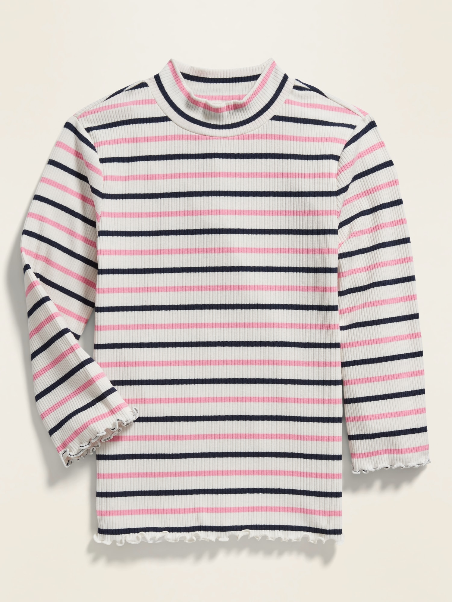 Striped Rib Knit 3/4 Sleeve Tee For Girls by Old Navy