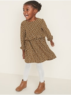 Fit & Flare Printed Soft-Brushed Dress for Toddler Girls