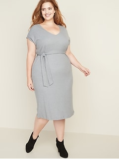 Tie-Waist Plus-Size Rib-Knit Midi Dress