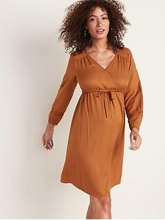Maternity Waist-Defined Lace-Trim V-Neck Dress