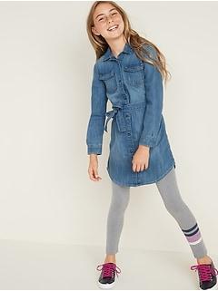 Tie-Belt Jean Shirt Dress for Girls