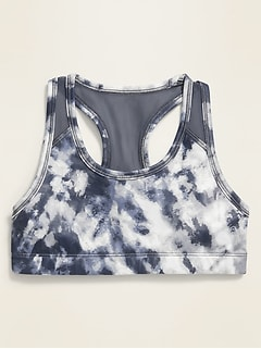 Go-Dry Tie-Dye Mesh-Back Sports Bra for Girls