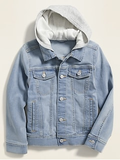 Built-In Flex Fleece-Hood Jean Jacket for Boys