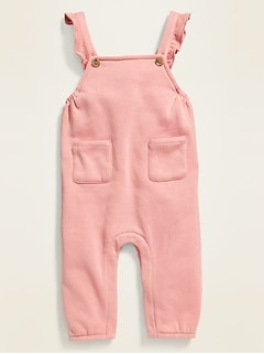 Fleece-Knit U-Shaped Ruffle-Strap Overalls for Baby