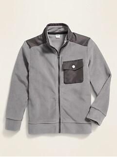 Micro Performance Fleece Hybrid Zip Jacket for Boys