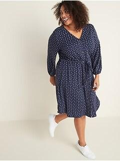 Waist-Defined Plus-Size Ponte Knit Dress