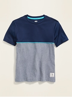 Color-Blocked Mesh/Jersey Tee for Boys