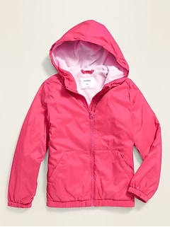 Water-Resistant Performance Fleece-Lined Rain Jacket for Girls