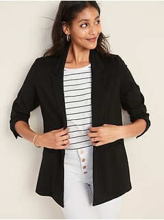 Ponte-Knit One-Button Boyfriend Blazer for Women