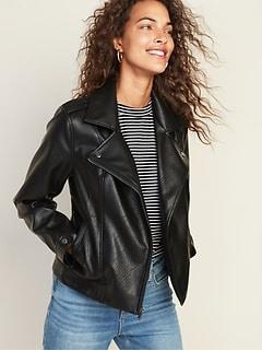 Veste de moto en similicuir pour femme