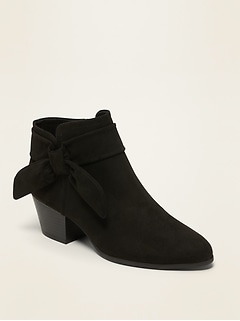 Faux-Suede Bow-Tie Ankle Boots for Women