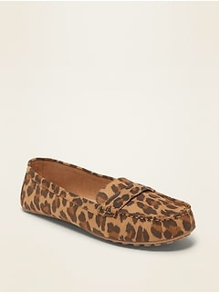 Leopard-Print Faux-Suede Driving Moccasins for Women