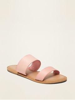 Sandales en similicuir à brides doubles à enfiler pour femme