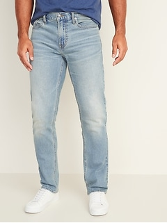 Straight Built-In Flex Light-Wash Jeans For Men