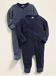 Unisex Micro Fleece Footie Pajama One-Piece 2-Pack For Baby