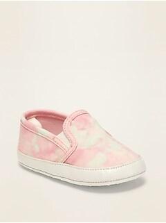 Chaussures à enfiler en toile teinte par nœuds pour bébé