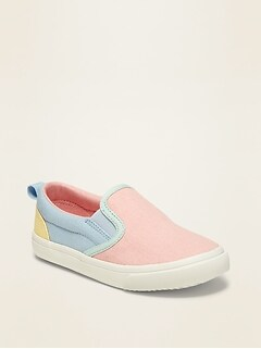 Color-Blocked Canvas Slip-Ons for Toddler Girls