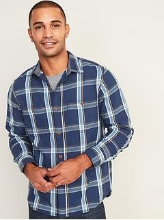 Chemise en sergé à carreaux, coupe standard pour homme