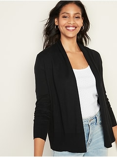 Short Shawl-Collar Open-Front Sweater for Women