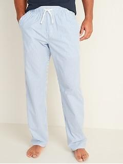 Patterned Poplin Pajama Pants for Men