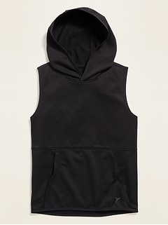 Relaxed Sleeveless Go-Dry Pullover Hoodie for Boys