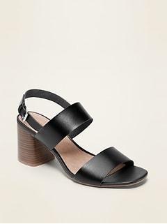 Faux-Leather Slingback Block-Heel Sandals for Women