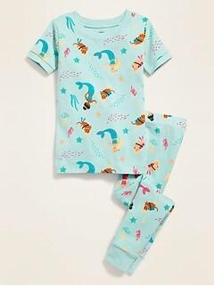 Mermaid-Print Pajama Set for Toddler Girls & Baby