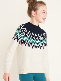 Fair Isle Mock-Neck Sweater for Girls