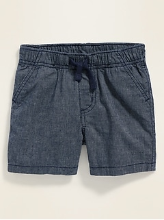 Textured Twill Pull-On Shorts for Baby