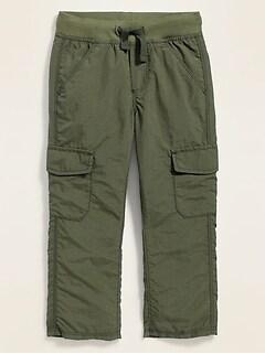 Rib-Knit Waist Nylon Cargo Pants for Toddler Boys