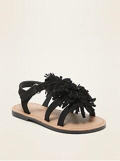 Sandales en faux suède à fleurs-pampilles pour toute-petite fille