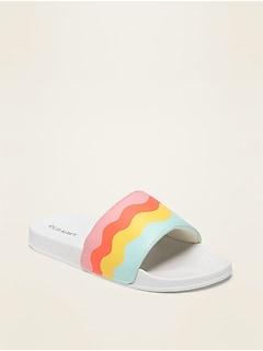 Graphic Faux-Leather Pool Slides for Girls