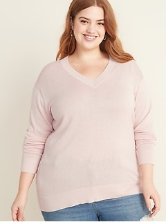 Relaxed Plus-Size V-Neck Tunic Sweater
