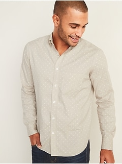 Regular-Fit Built-In Flex Dot-Print Everyday Shirt for Men