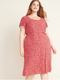 Fit & Flare Printed Button-Front Plus-Size Midi Dress