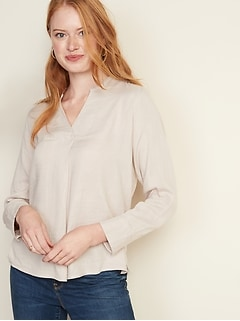 Textured Double-Weave Split-Neck Top for Women