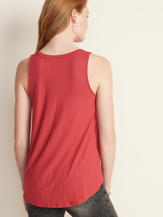 High-Neck Rib-Knit Swing Tank for Women
