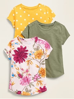 Scoop-Neck Tee 3-Pack for Toddler Girls