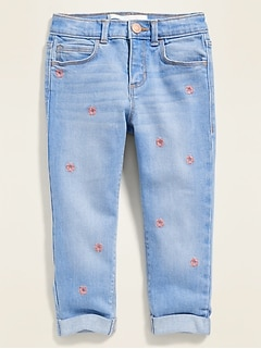 Embroidered-Flower Boyfriend Jeans for Toddler Girls